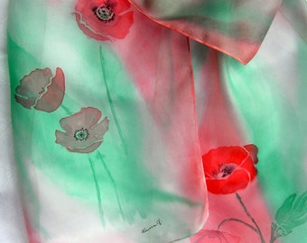 Hand painted poppies silk scarf.