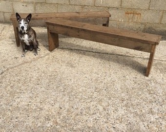 A Pair of Rustic UpCycled Benhces