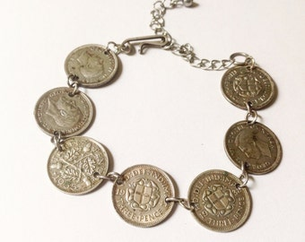 Vintage, 1940s, silver, Three pence coins bracelet with George V and George VI  coins.