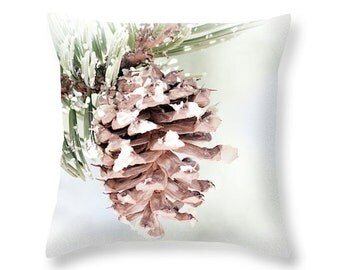 Rustic Throw Pillow Cover Pinecone Pillow Decorative Pillow Lodge Decor Accent Pillow Unique Pillow Cover Brown and White Accent