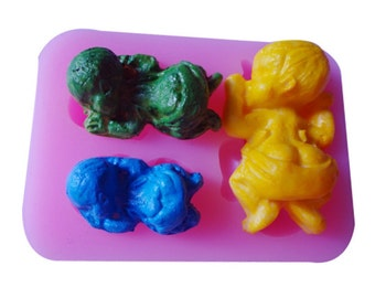 3D  3 sleeping babys  silicone mold