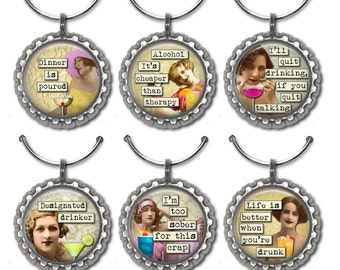 Wine Charms, Funny Wine Charms, Hostess Gift, Wine Lover Gift, Wine Accessories, Gift for Her