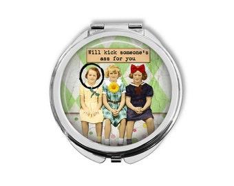 Funny Pocket Mirror, Compact Mirror, Purse Mirror, Pocket Mirror, Gift for Her, Gift for Friend