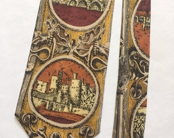Vintage Silk Tie with Castle Cameos. Silk Tie. Korean Tie. Vintage Silk Tie in brown.