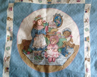 VICTORIAN DOLL Pillow Panels (2) 1/2 yard Cotton Vintage NOS
