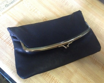Budd Black Vintage Genuine LEATHER CLUTCH Purse.  1960s NOS