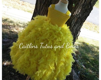 Yellow Feather tutu dress, feather dress, flower girl dress, feather tutu dress, yellow feather dress, yellow tutu dress, yellow dress