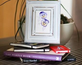 Watercolor Pansies Original on Watercolor Paper