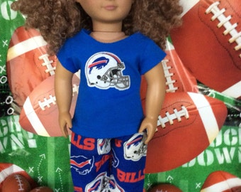 Buffalo BILLS! 18in Doll Clothes, Handmade, Fits all 18 inch dolls, 2 pc Outfit