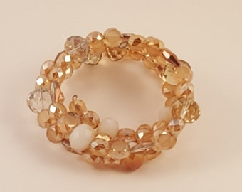 Shades of Tan Memory Wire Bracelet