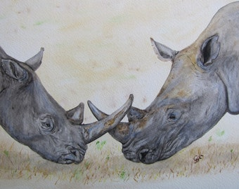 Watercolour Painting Rhino