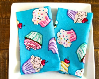 Kid's Lunchbox Napkins. Cupcakes with Cherries, Turqoise, Aqua Blue. Set of 2 Reusable Cotton Napkins.