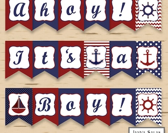 Ahoy It's a Boy Nautical Baby Shower Banner Party Printables DIY Printable INSTANT DOWNLOAD
