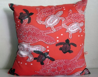 Turtle DECORATIVE pillow cover,SEA TURTLE decor,beach,black,red and white pillows,eco friendly organic cotton, cushion cover,43cm x 43cm