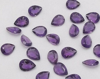 25-P Wholesale Lot Of  purple Amethyst Pear Cut Faceted Calibrated Loose Gemstone with free shipping