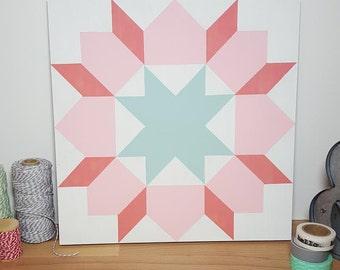 Painted Wood Quilt Block - Pink & Sage
