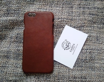 iPhone leather case, soft hairsheep leather 'Chestnut'