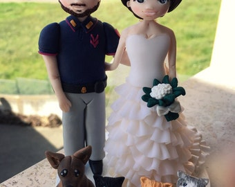 Personalized bride and groom cake topper