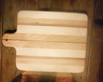 maple and cherry wood cutting board