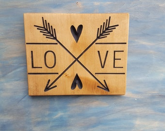 Carved Rustic Double Arrow With Heart Love Sign, Rustic Love Sign