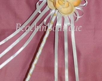 Flower Girl Sea Shell Flower  Wand /Beach Wedding Wand / Fairy/Princess Sea Shell Flower Wand/ Mermaid Wand