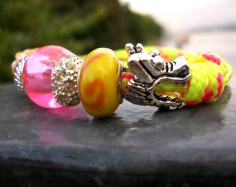 Surfer bracelet, Dragon bracelet, silver-colored yellow neon yellow neon pink, neon, sailors bracelet, Sea Ocean Beach, ooak