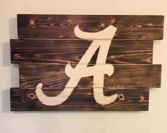 Small University of Alabama football man cave wood sign 21x14
