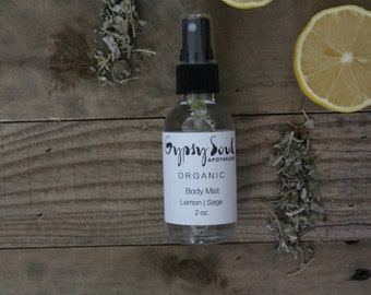 Organic Body Mist- Lemon | Sage