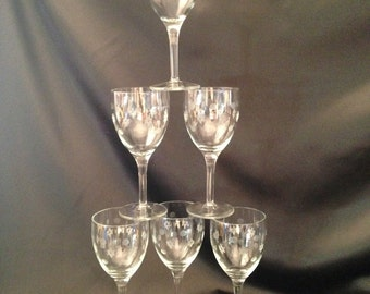 Set 6 etched wine glasses,Set 6 etched wine goblets,Set 6 stemware,Etched stemware,Etched stemware circles and Freemason symbol