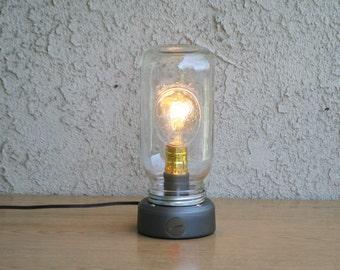 Industrial style table lamp, Mason Jar Edison table lamp, Mason Jar table lamp, Table lamp, Edison table lamp, Glass Jar table lamp