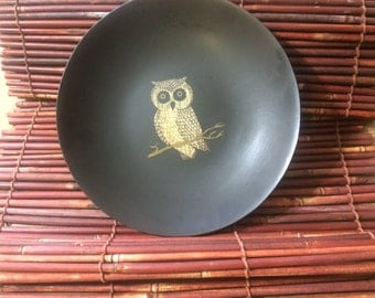 Vintage corke plate, owl depiction, owl plate,