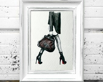 Chanel Sketch, Chanel Bag Fashion wall art, Fashion Illustration, Watercolor Fashion Poster, Fashion Art  Print,Chanel LR-31