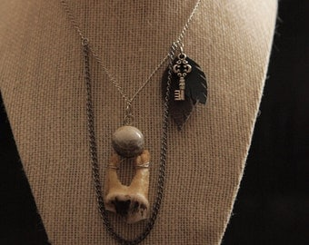 Bone 27- Elk Tooth and Jasper bead Necklace Witch Bohemian Jewelry