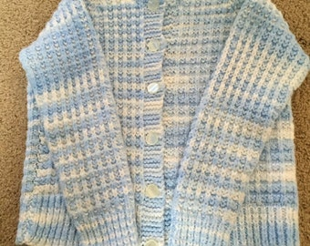Vintage hand made girls size 2t blue and white sweater.