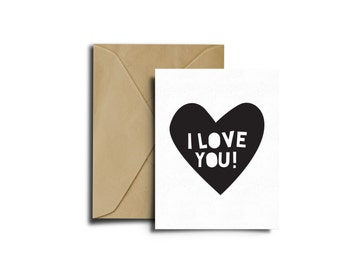 I love you Card, Greeting Card, DIY Card, Printable Card, Black and White Card, Instant Download, Printables, Monochrome Card