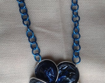 Necklace with blue flower