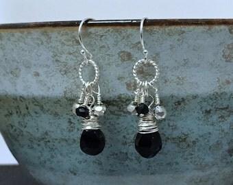 Black Spinel Drop Earrings, Black Silver Earrings, Black Gemstone Earrings, Dainty Black Earrings, Elegant Black Earrings, Feminine Earrings