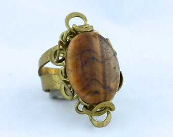 Tigers Eye Wire Wrapped Flower Ring Adjustable Size