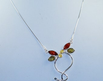 Amazing Multi Color Baltic Amber  & 925 Sterling Silver Necklace