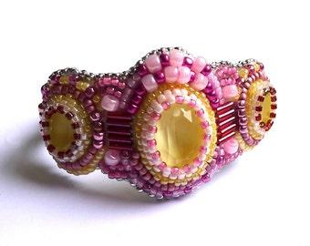 Bracelet citron framboise cristaux de Swarovski, bracelet brodés de perles, bracelet support en acier inoxidable