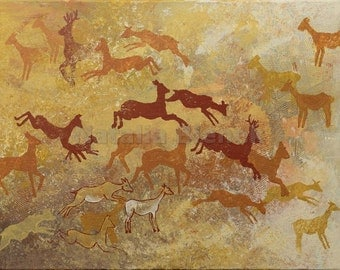 Running deer, Original Painting, Fine Art, Contemporary Art, Abstract, Prehistoric Cave Art, Palaeolithic, Walls of Lascaux, Earthy colors