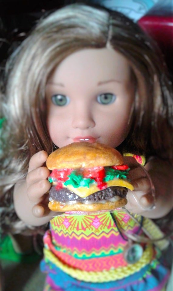 "Cheeseburger for American Girl 18"" Dolls, American Girl Doll Food, Food for American Girl, Doll Food, Food for Dolls"