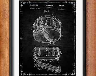 Snare Drum Wall Art - Drummer Wall Art - Snare Drum Patent - Snare Drum Gifts - Gift for Drummer - Drummer Decor - Gifts for Musician - 1033