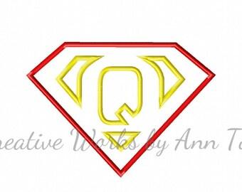 I Am Super Letter Q Alphabet Applique