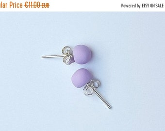 SALE 20% OFF VIOLET; Stud Earrings; Polymer Clay and Sterilng Silver 925; Free Shipping
