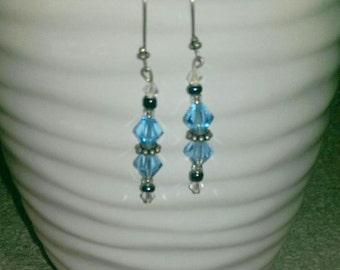 Blue Bicone Crystal Earrings