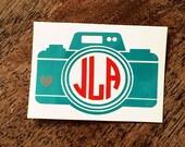 Camera Monogram Decal/Camera Monogram/Photographer Monogram/Car Decal/Monogram Decal/Yeti Decal/Personalized Decal