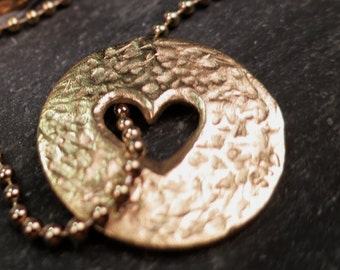 Hammered pi heart pendant