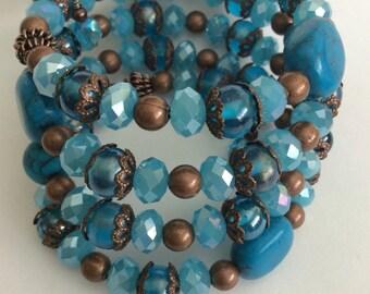 Turquoise Wrap Bracelet, Turquoise Bracelet, Womens Gemstone Bracelet, Turquoise Stone Glass, memory Wrap bracelet, turquoise jewelry