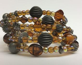Yellow Bracelet, Amber Bracelet, Memory Wire bracelet, Beaded Glass Jewelry, Memory Wrap Bracelet, Womens Jewelry, Handmade Jewelry, gifts